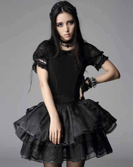 Women's PYON Lolita Style Pricess Plain Lace T-shirt-Punk Design