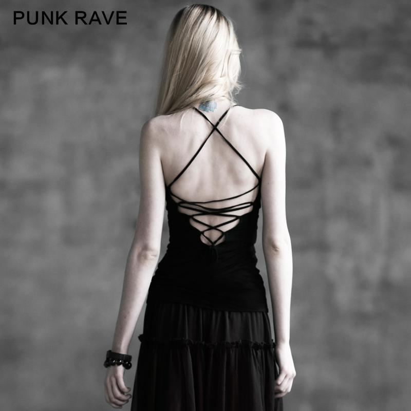 Women's Round Collar Lace Up Backless Tank Tops-Punk Design