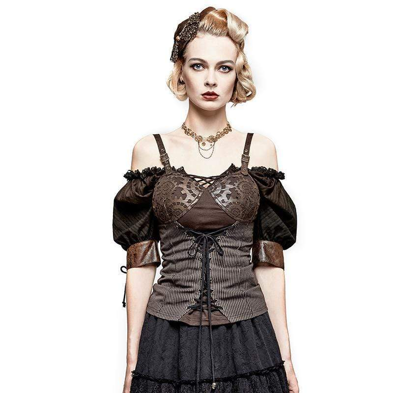 PUNK RAVE Women's T-shirts & Tops Women's Steampunk Gear Lace Up Knitted Tank Tops