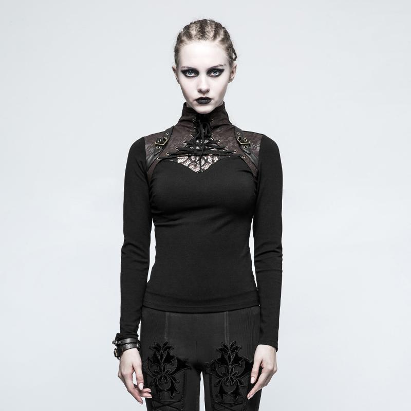 Women's Steampunk High Collar Lace Long Sleeved Tops-Punk Design