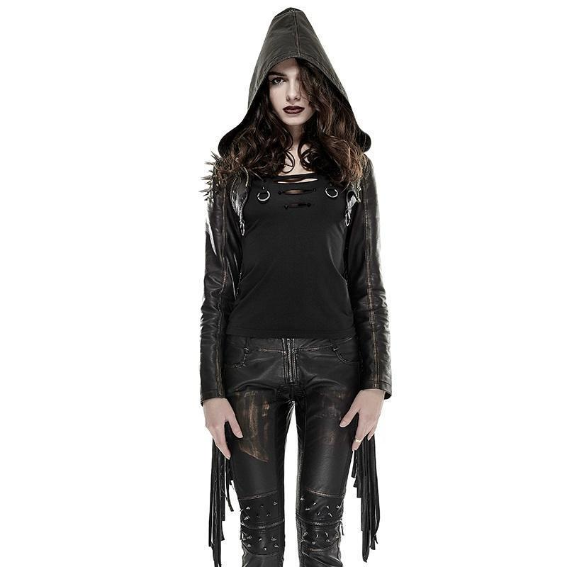 Women's Tassel Rivets Multi Zipper Short Faux Leather Hooded Jacket-Punk Design
