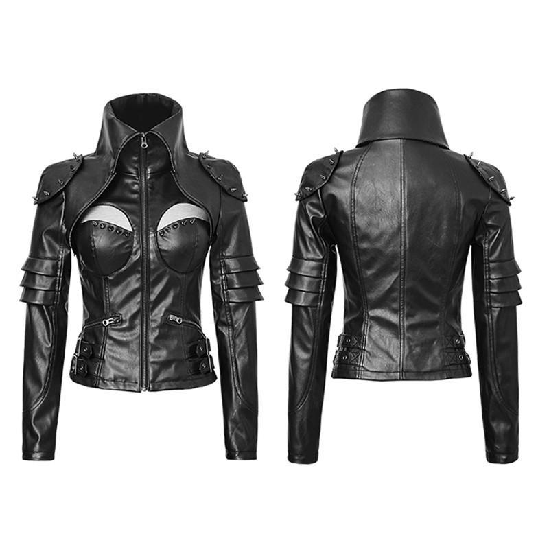 Women's Terminator Rivets Faux Leather Slim Fitted Jacket - PunkDesign