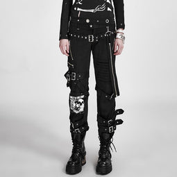 Punk Rave Women's Punk Skull Printed Straps Boot Cut Pants K 058-Punk Design
