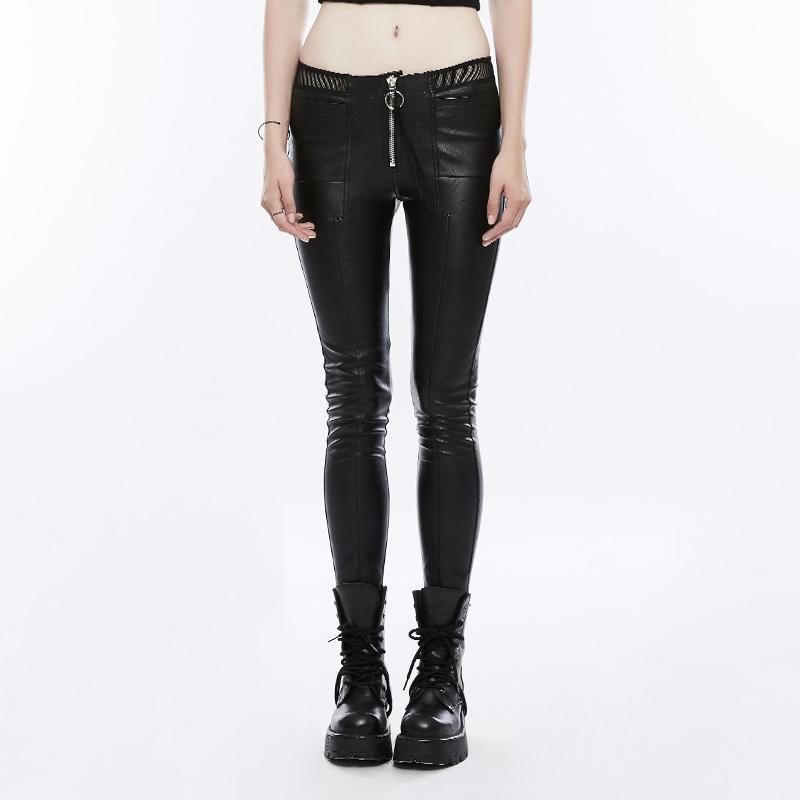 Damen Kunstleder Slim Fitted Skinny Pants-Punk Design