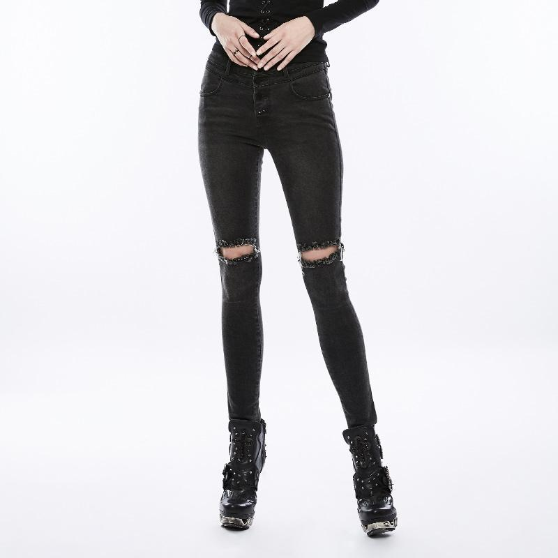 Women's Front Broken Holes Slim Fitted Jeans-Punk Design
