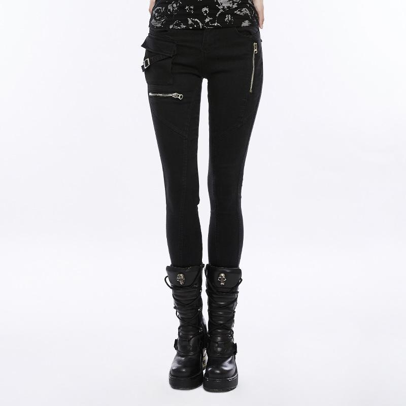 Women's Zipper Deco Skinny Pants-Punk Design