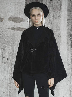 Punk Rave Women's Turn-down Collar Batwing Sleeved Velvet Capes