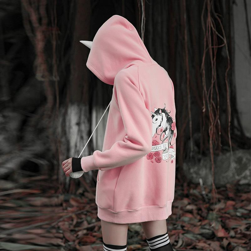 Women's Unicorn Printed Ball Top Deco Loose Hoodies-Punk Design