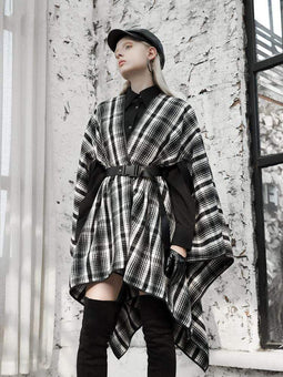 Punk Rave Women's V-neck Casual Plaid Capes With Belt