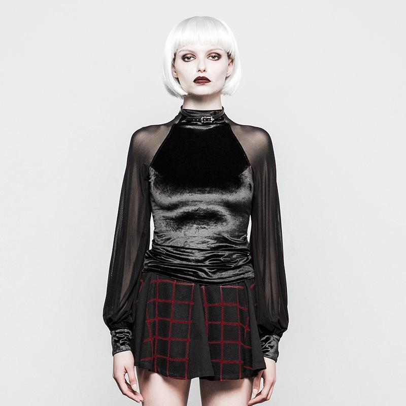 Women's Velour Goth Shirt With Net Sleeves-Punk Design