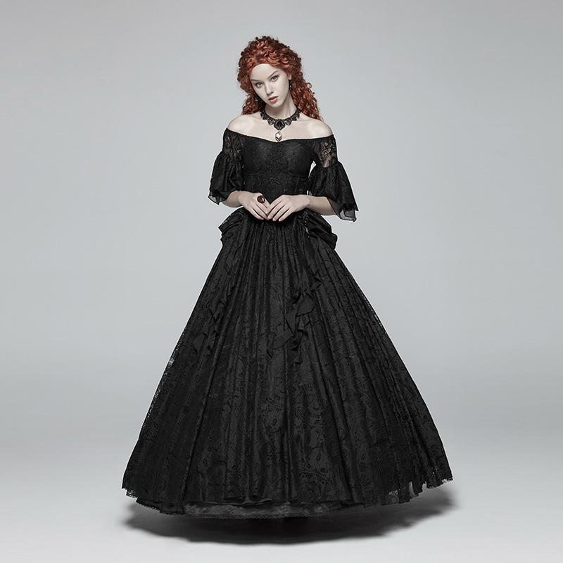 Women's Vintage Goth Off Shoulder Floral Lace Gown-Punk Design