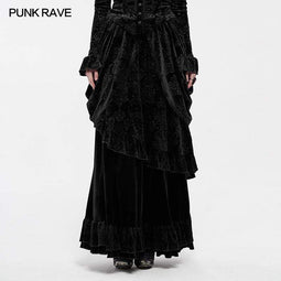 Punk Rave Women's Vintage Long Velvet Skirts