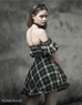 Punk Rave Women's Vintage Off Shoulder Puff Sleeve Plaid Tube Top Dress