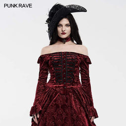 Punk Rave Women's Vintage Off-shoulder Velvet Shirts