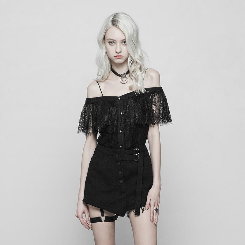 Women's Vintage Punk Lace Ruffled Top-Punk Design