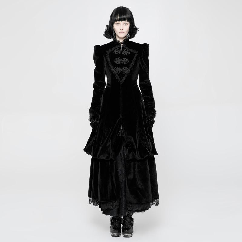 Damen Vintage Punk Layered Frock Coat-Punk-Design