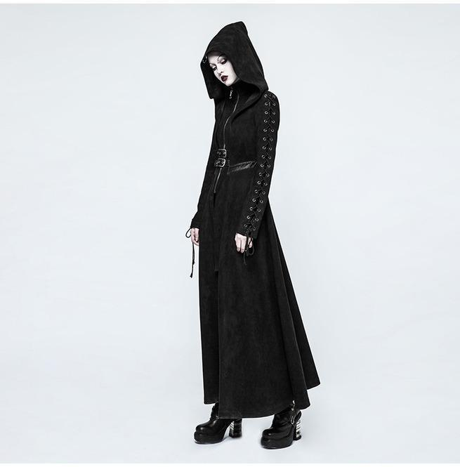 Women's Witch Hooded Maxi Coat-Punk Design