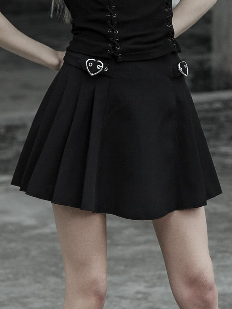 Punk Rave Womne's Goth Plain Black Skater Skirt