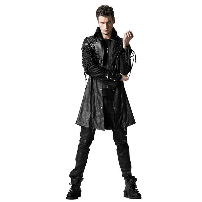 Men's Punk Studded Faux Leather Zipper Jacket Black - PunkDesign