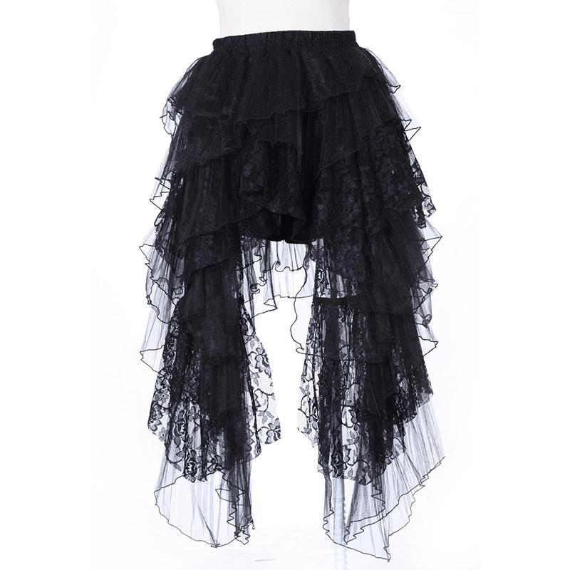 Gothic Asymmetric Layered Lace Skirt - PunkDesign