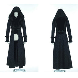 Gothic Long Hooded Coat - PunkDesign