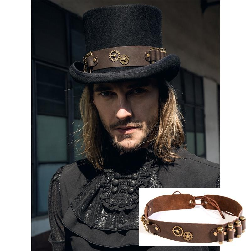 Men's Steampunk Bullet Leather HatWear - PunkDesign