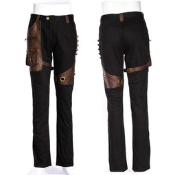 Men's Steampunk Faux Leather Accents Trousers-Punk Design