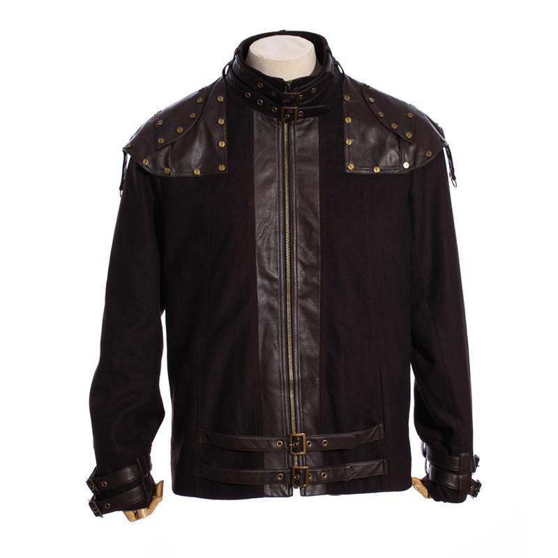Men's Steampunk Faux Leather Epaulet Jacket-Punk Design