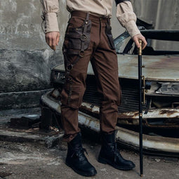 Hombre Steampunk Faux Leather Straps & Pocket Cargo Pants-Punk Design