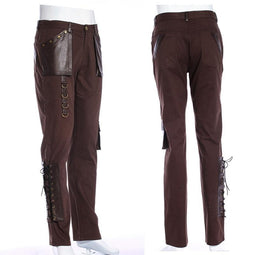 Pantalon Explorateur Accents en cuir Steampunk pour homme - Design Punk