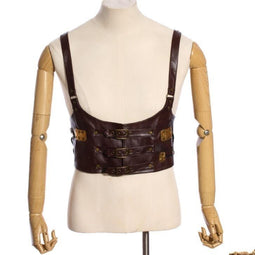 Men's Steampunk Leather Vest with Gears-Punk Design