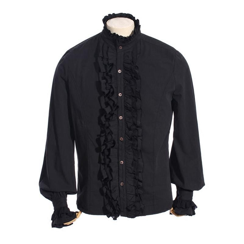 Men's Vintage Full front ruffled shirt-Punk Design