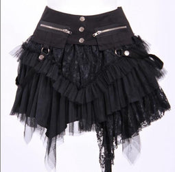 RQ-BL Short Layered Lace and Net Steampunk Skirt