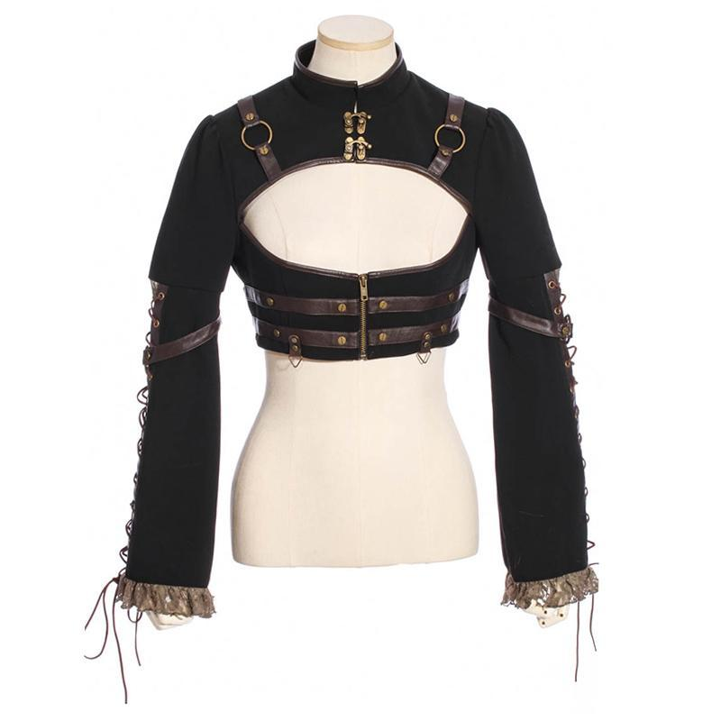 Steampunk Blouse with Peekaboo Front-Punk Design