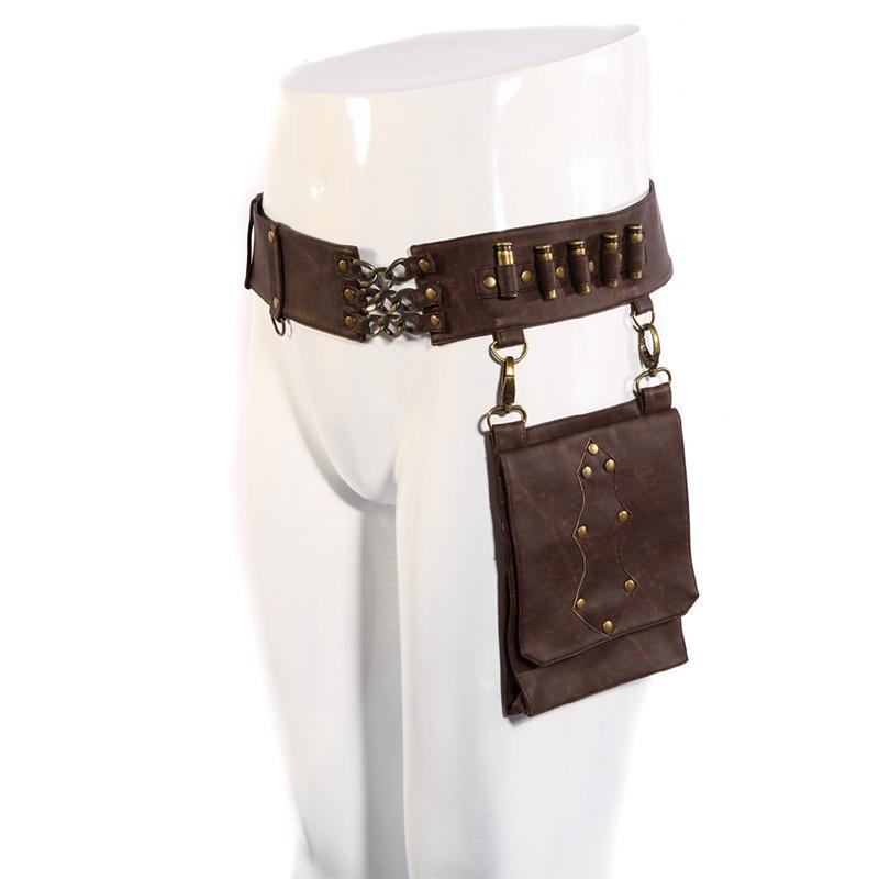 Steampunk Bullet Belt with Detatchable Pouch-Punk Design