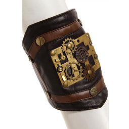 Steampunk Clock parts Leather Armband-Punk Design