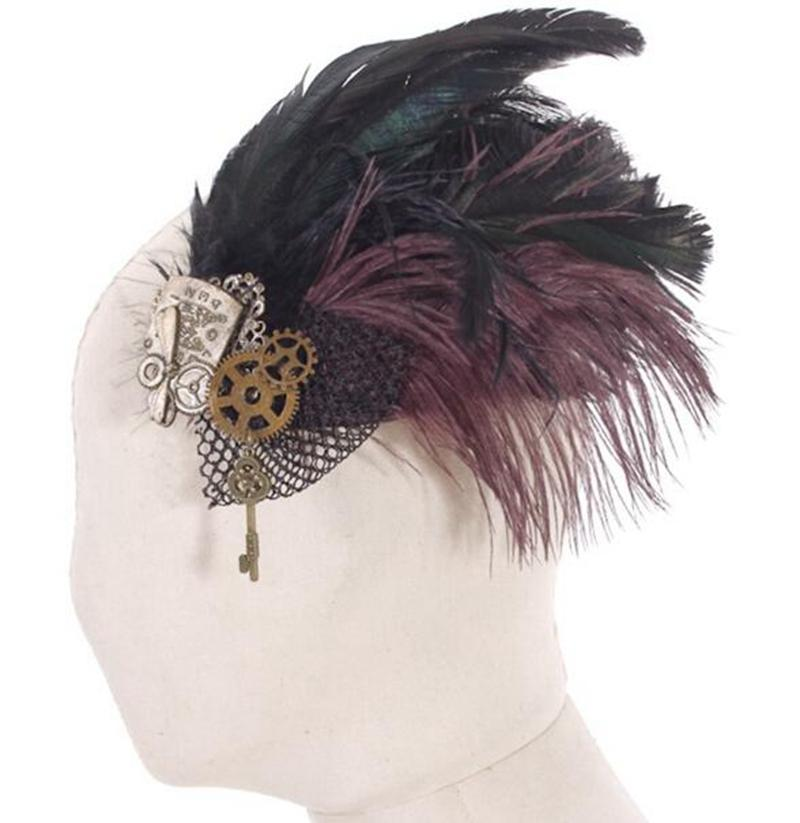 Steampunk Mesh and Feather Headdress-Punk Design