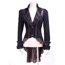 RQ-BL Steampunk Women's Faux Leather Lapel Lace Swallow Tailed Ruffle Coat