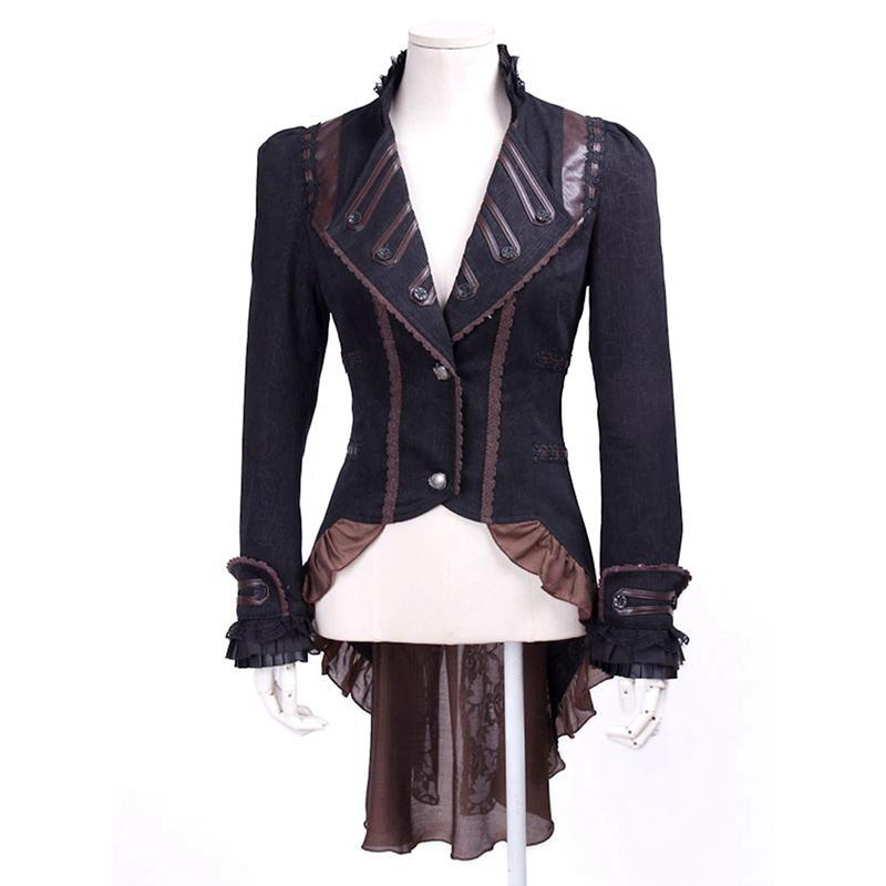 Steampunk Women's Faux Leather Lapel Lace Swallow Tailed Ruffle Coat-Punk Design