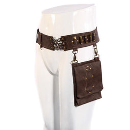 Unisex Steampunk Bullet Belt Waist Bag with Detatchable Pouch-Punk Design