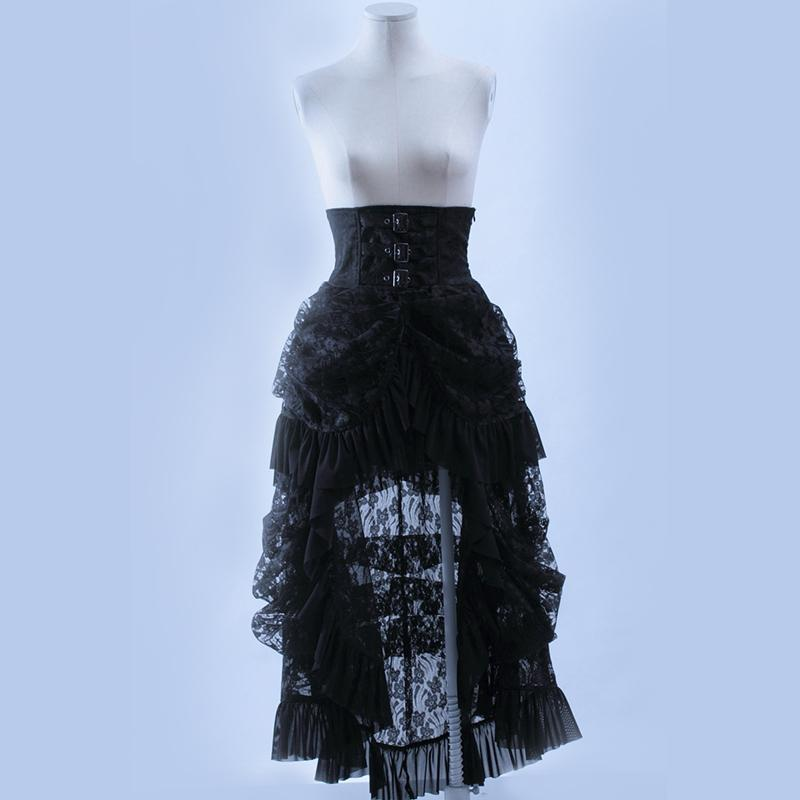 Vintage Style High Waist Long Skirt-Punk Design