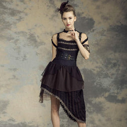Women's Asymmetric Steampunk Dress-Punk Design