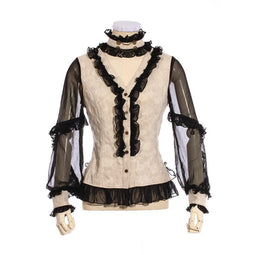 Damen Black & White Rüschen Steampunk Shirt-Punk Design