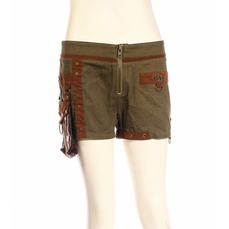 Women's Canvas Steampunk Shorts With Leather Pouch-Punk Design