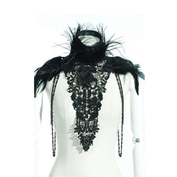 Women's Feather and Lace Necklace-Punk Design