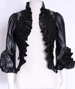 RQ-BL Women's Front Open Steampunk Jacket With Lace and Frills