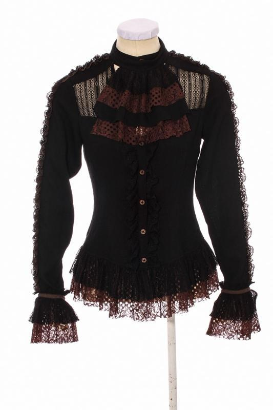Damen Goth Lace Short Top-Punk Design