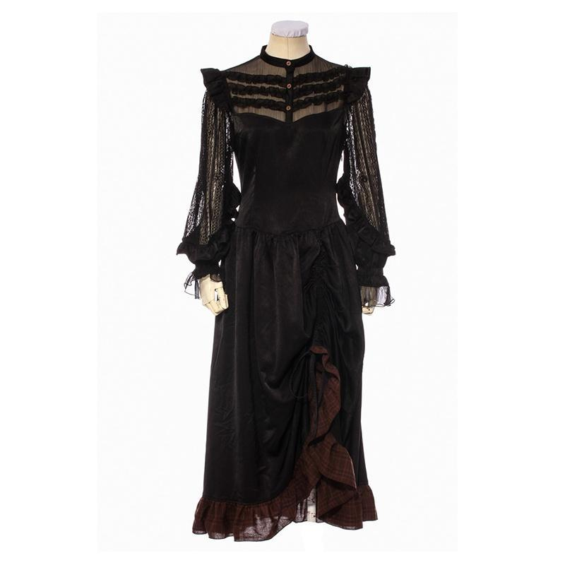 Women's Goth Middy Length Dress-Punk Design