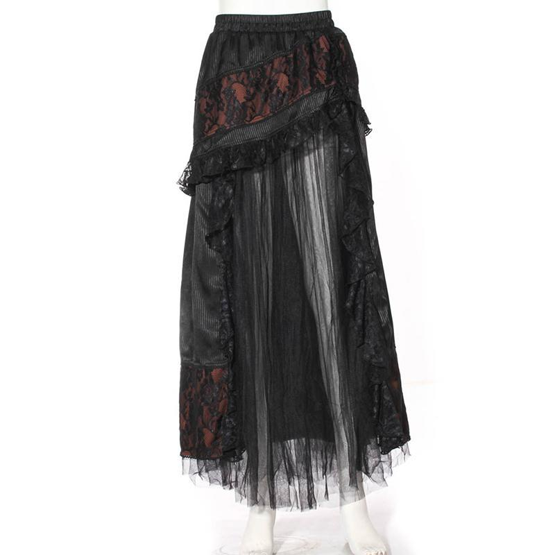 RQ-BL Women's Goth Multilayered Net Front Skirt