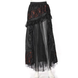 Women's Goth Multilayered Net Front Skirt-Punk Design